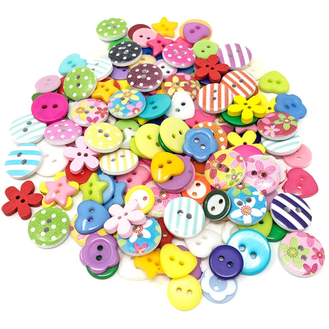 150 Mix Wood Acrylic & Resin Buttons