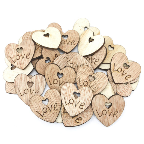 25mm Wooden Double Love Hearts