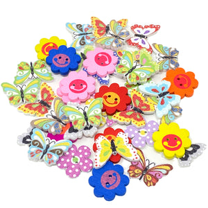40 Mixed Bright Flower & Butterfly Buttons