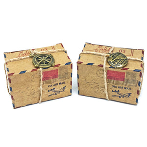 Rustic Airmail Inspired Wedding Favour Boxes With Metal Decoration