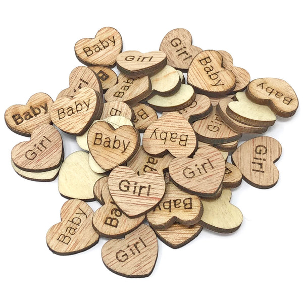 15mm Wooden Birthday & Baby Shower Hearts - Mixed Design Options