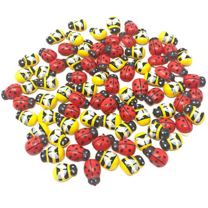 Mini 9x12mm Mixed Bees & Ladybirds Self Adhesive Wood Toppers