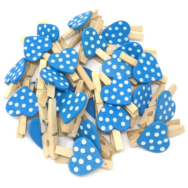 30mm Natural Pegs with 18mm Spotty Hearts