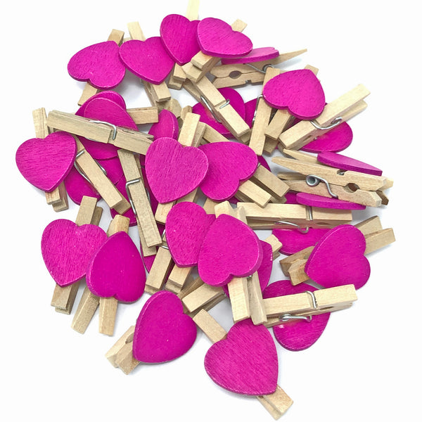 30mm Natural Pegs with 18mm Coloured Hearts