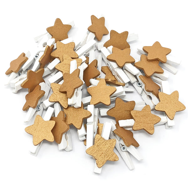 30mm Mini Wooden Clothes Pegs with 18mm Stars