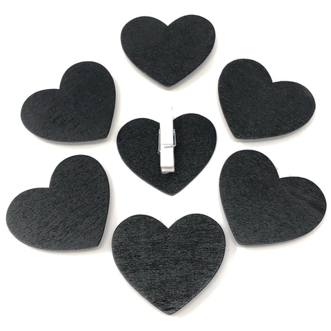 Mini Wooden Chalkboard Heart Pegs for Wedding Table Names