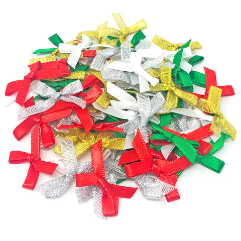 7mm 40x25mm Christmas Ribbon Bows - Pack of 75