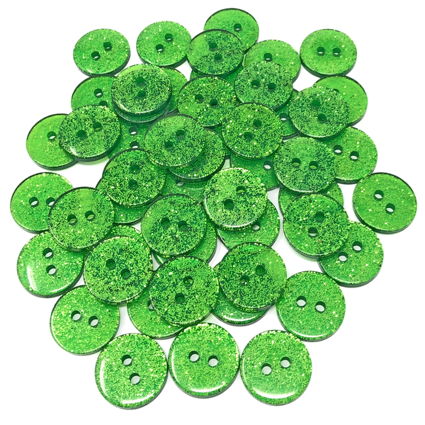 50 Mix Glitter Round 15mm Resin Buttons