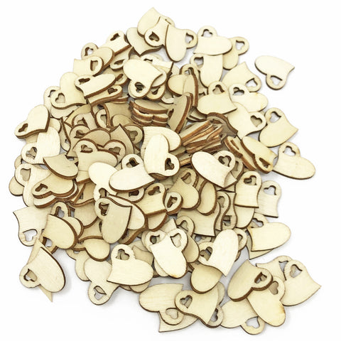 15mm Double Wooden Confetti Love Hearts