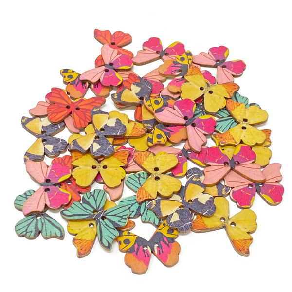 40 Mixed Floral Flower & Butterfly Buttons