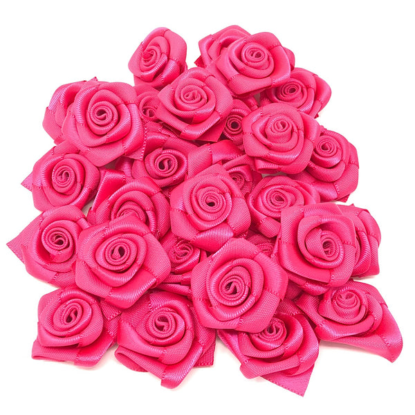 25mm Satin Ribbon Rose Flowers