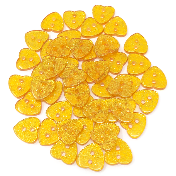 50 Mix Glitter Heart 13mm Resin Buttons
