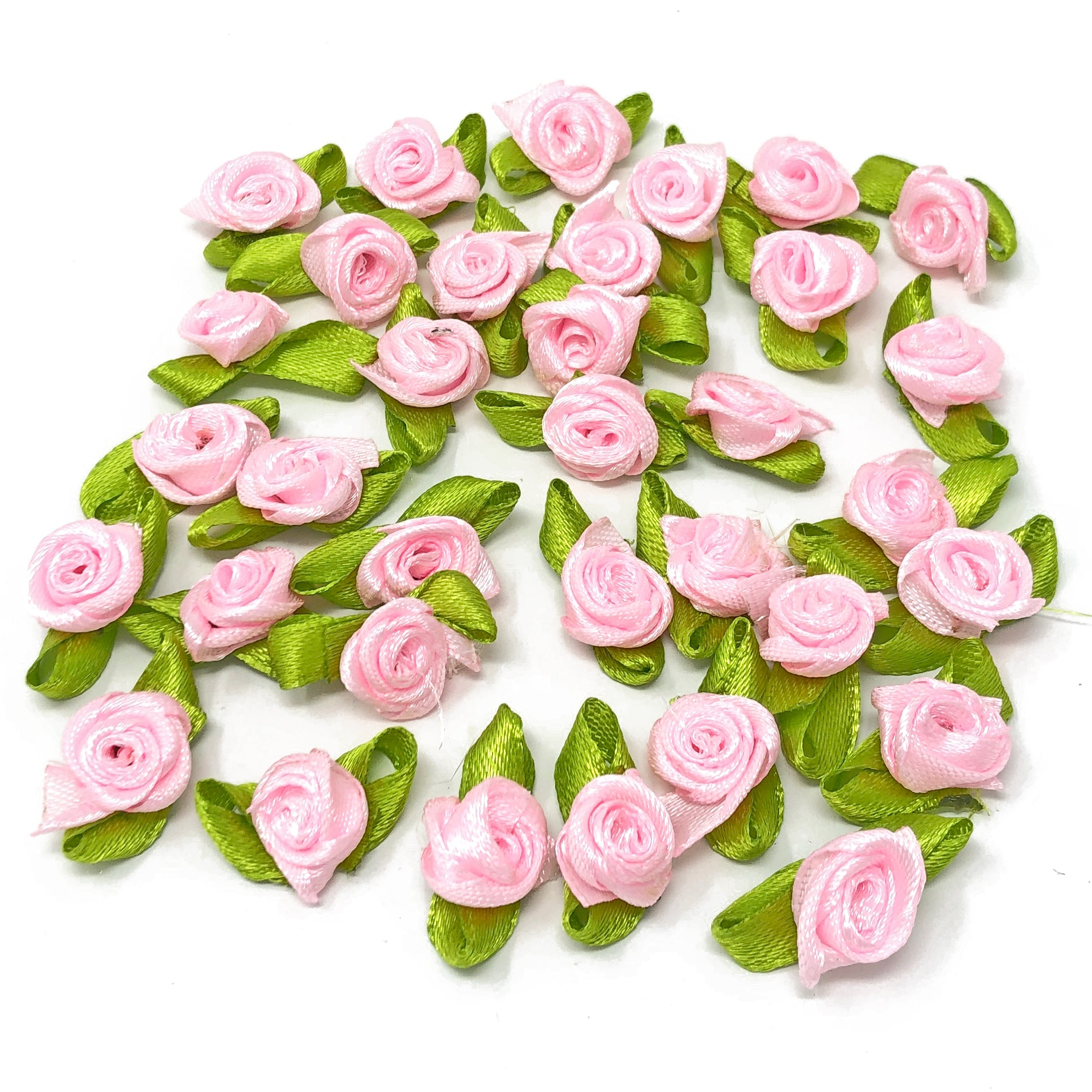 Mini 15mm Rose Satin Ribbon Rose Buds With Base
