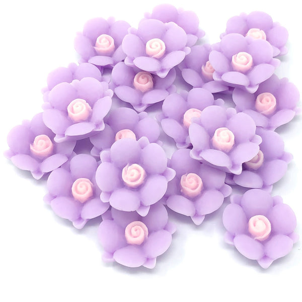 20mm Soft Feel Rose Flower Flatbacks - Pack of 20