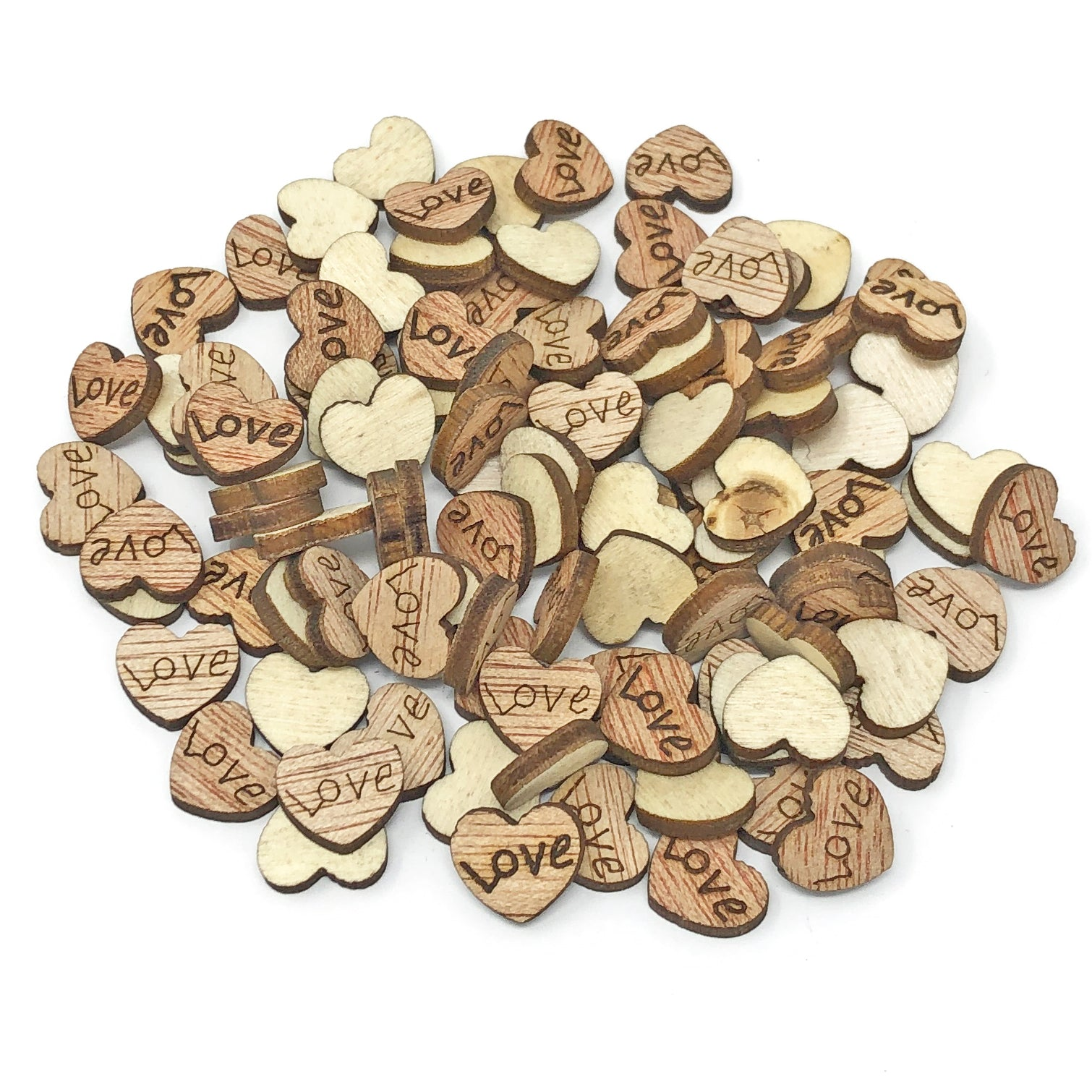 10mm Natural Wooden Wedding Love Hearts - Mixed Design Options