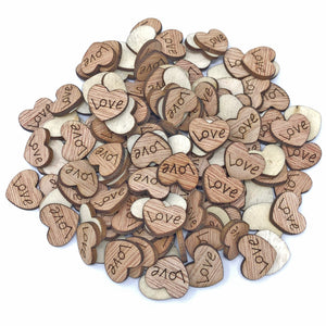 15mm Natural Wooden Wedding Love Hearts - Mixed Design Options
