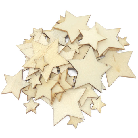 50 Mixed Size Natural Plain Wood Stars