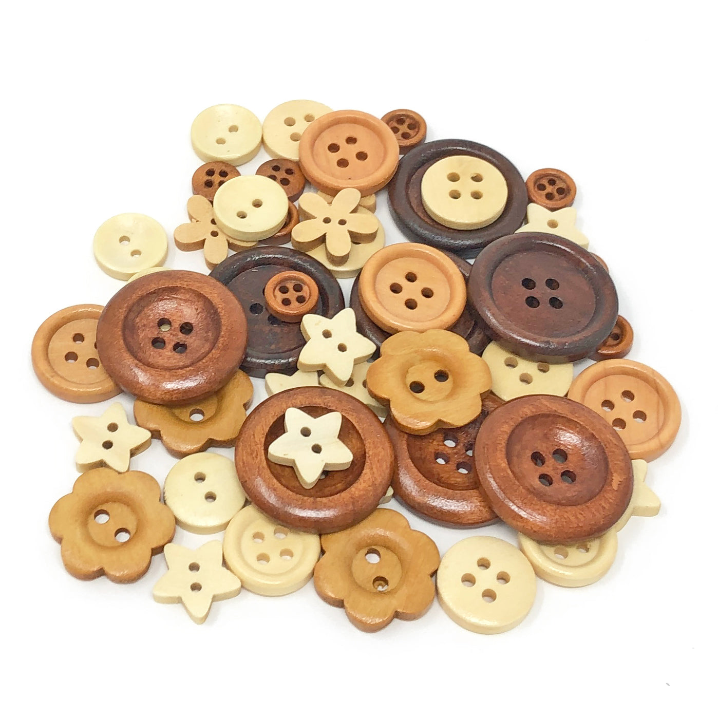 50 Mix Natural Shabby Chic Wood Buttons