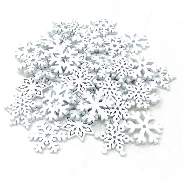 50 Mix Wooden Christmas Snowflakes