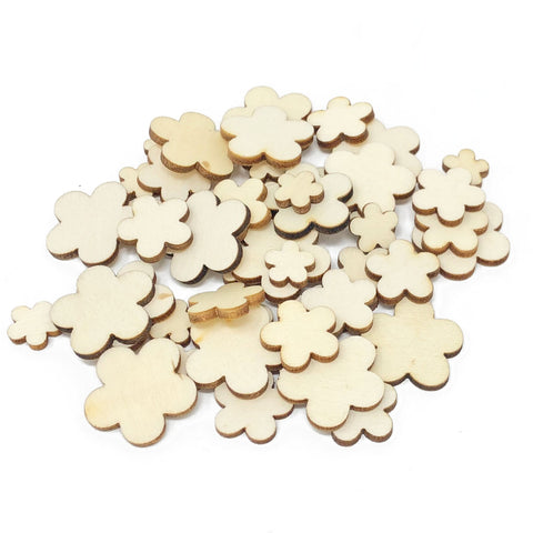 50 Mixed Size Natural Plain Wooden Flower