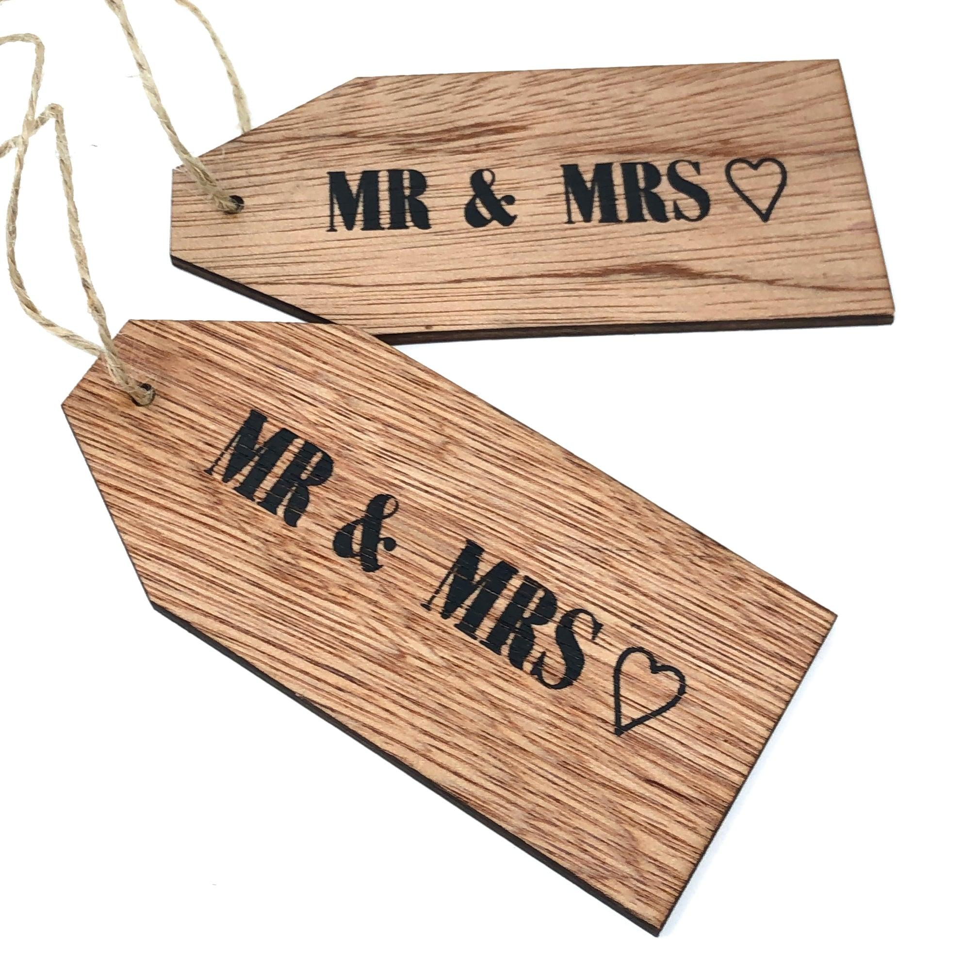 Mr & Mrs Wooden Wedding Tags
