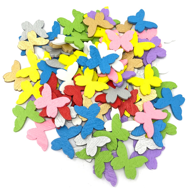 20mm Wooden Craft Coloured Butterflies