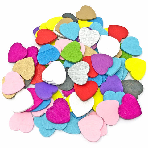 18mm Wooden Craft Coloured Hearts