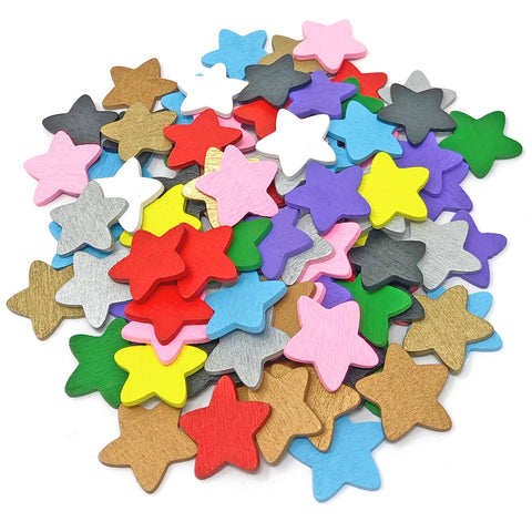 18mm Wooden Craft Coloured Stars