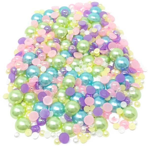 Mini Resin Mixed Size Half Pearls (Pack of 500 Approx)