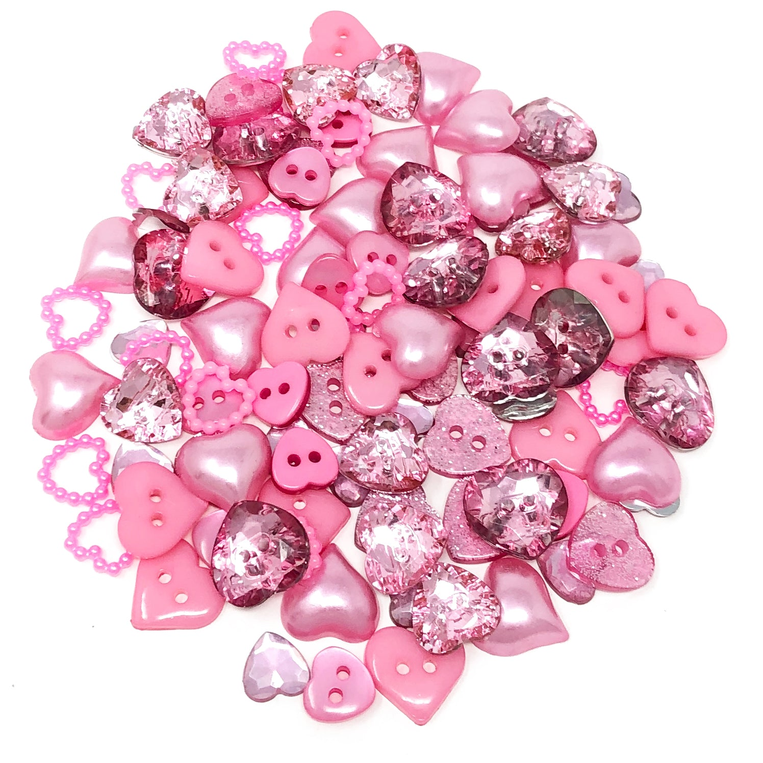 100 Mix Heart Acrylic & Resin Buttons & Flatbacks