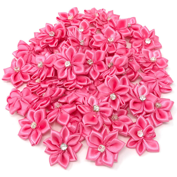 25mm Satin Ribbon Flowers With Rhinestone Diamante Centre