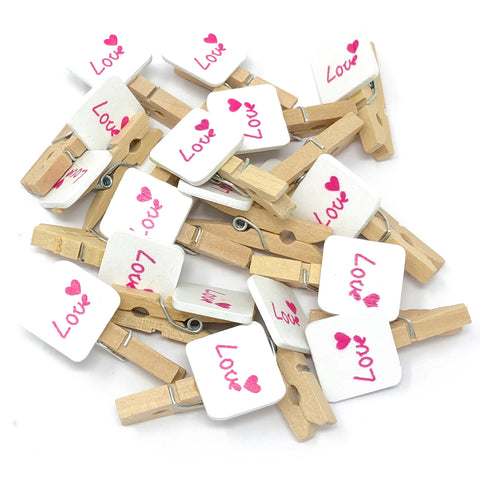 30mm Natural Pegs with 18mm Square 'Love' Tags