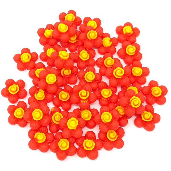 13mm Soft Feel Resin Flower Flatbacks - Pack of 40