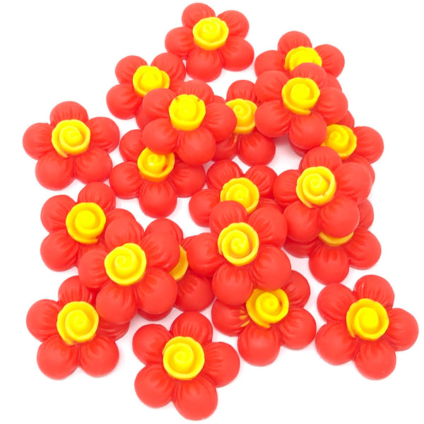 20mm Soft Feel Flower Flatbacks - Pack of 20