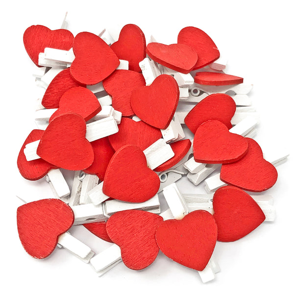 30mm White Pegs with 18mm Coloured Hearts