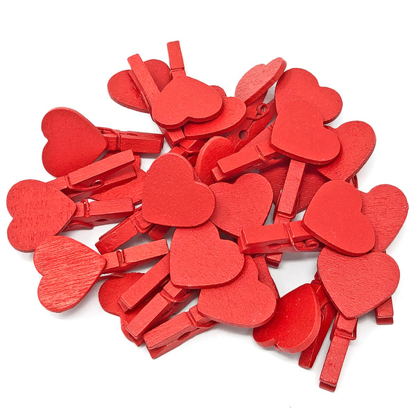 30mm Coloured Pegs with Matching 18mm Coloured Hearts