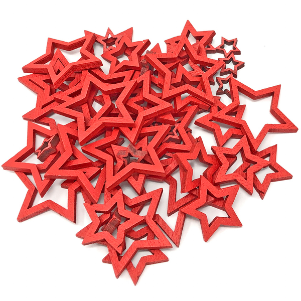 50 Mixed Size Cut Out Christmas Wood Stars