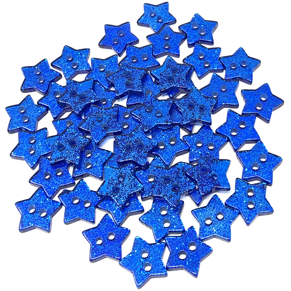50 Mix Glitter Star 13mm Resin Buttons