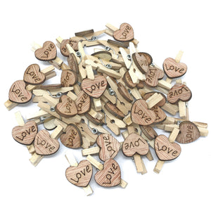 25mm Clothes Peg with 15mm Rustic Hearts