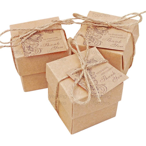 Rustic Vintage Shabby Chic Wedding Favour Boxes With Tags