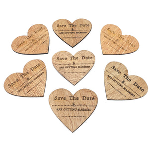 Save The Date Wooden Heart Shape Fridge Magnets