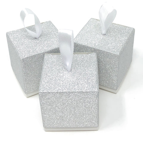 All that Glitters Sparkle Glitter Wedding Favour Box With Ribbons