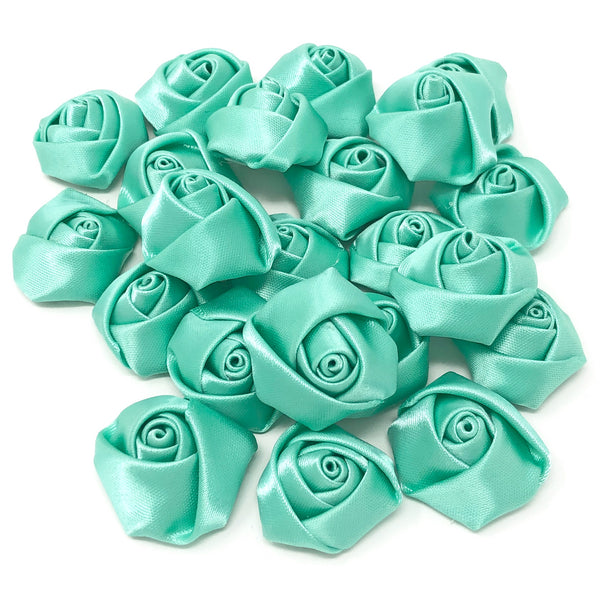 25mm Felt Flatback Ribbon Roses