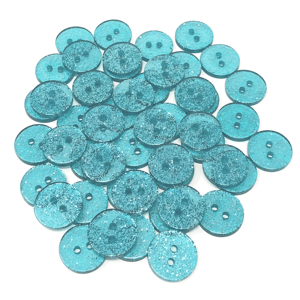 Resin Buttons Glitter Turquoise Blue