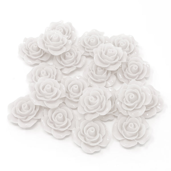 20mm Resin Roses Flatbacks - Pack of 20
