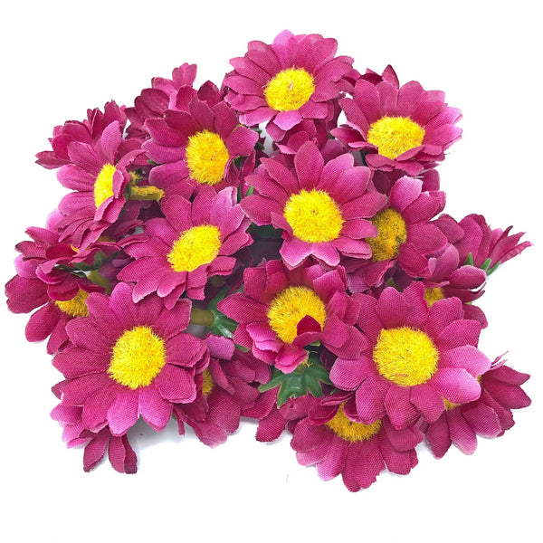 35mm Synthetic Daisy Flowers (Faux Silk) - Mini Daisy Heads