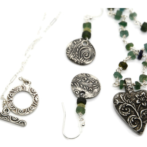 Roman Glass Beaded Heart Necklace and Earring Set