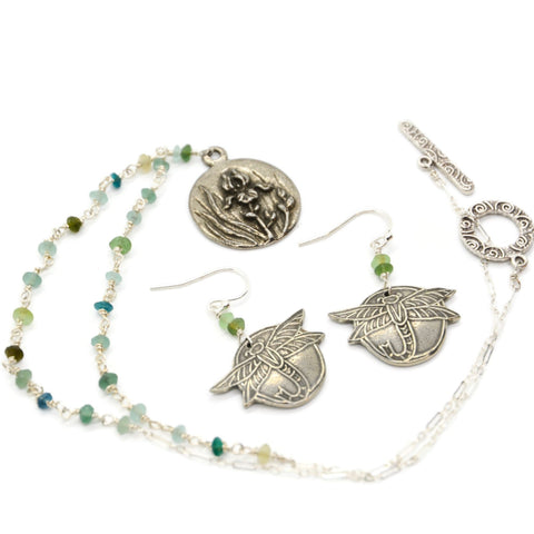 Roman Glass Necklace and Earring Set with Iris and Dragonfly