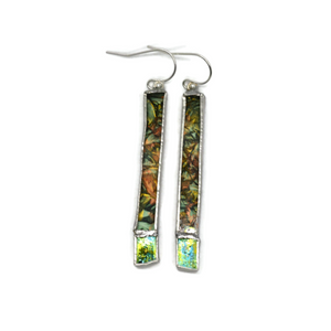 Not So Simple Earrings with Green Van Gogh and Irridized Glass