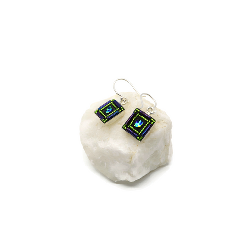 Purple and Green Bling Square Earrings